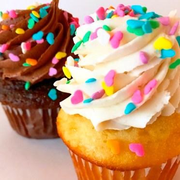 rainbow heart sprinkle cupcakes