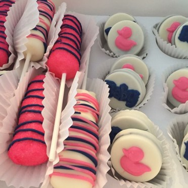 Order Baby Shower Marshmallow Pops and Chocolate Covered Oreos for delivery! We are located in Fairfax, Virginia and deliver our cupcakes, balloons in Northern VA and the DC area: Aldie, Annandale, Arlington, Alexandria, Ashburn, Bristow, Burke, Chantilly, Clifton, Centreville, Fairfax, Fairfax Station, Falls Church, Gainesville, Great Falls, Haymarket, Herndon, Manassas, Mclean, Oakton, Reston, Springfield, Sterling, South Riding, Tysons, Vienna and Washington DC