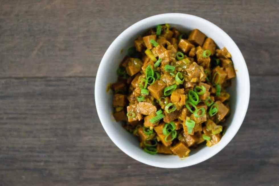 seitan curry prepared and in a bowl
