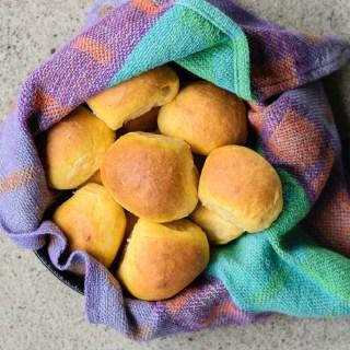 vegan sweet potato rolls in a basket