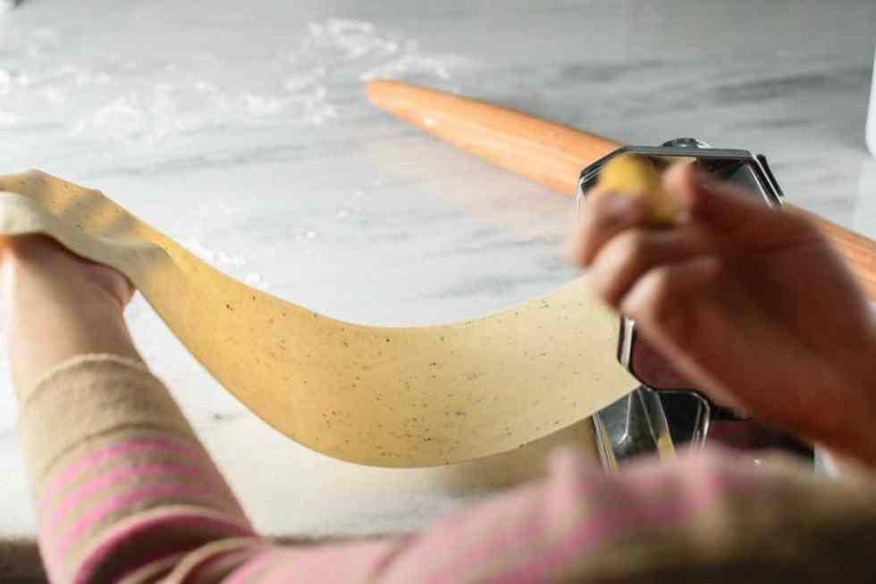 rolling fresh pasta dough