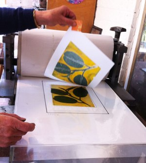 using the press to make a leaf print