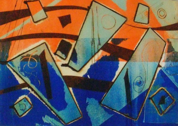 viscosity print in orange and blue