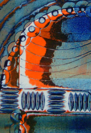 viscosity printing in shades of blue with orange and brown