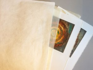 prints with tissue paper in tyvek folder