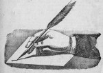 hand with a quill pen