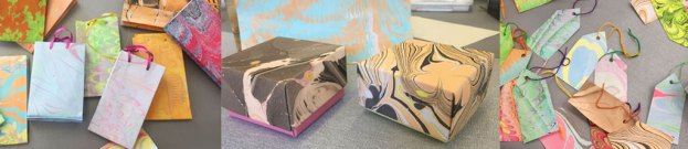 boxes bags and tags made from marbled paper