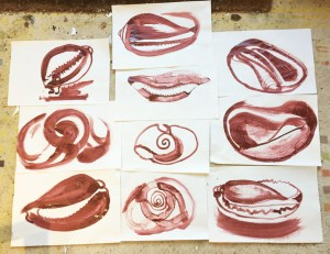 Ten one minute shell paintings