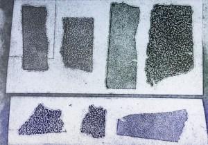 Intaglio print from embossed sandpaper plate