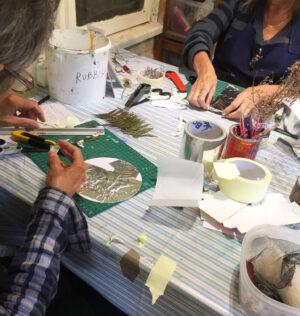 students making shaped printing plates