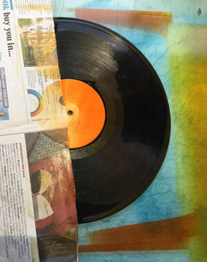 masking vinyl record with paper