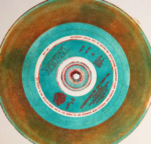 a vinyl record print combining relief and intaglio inking