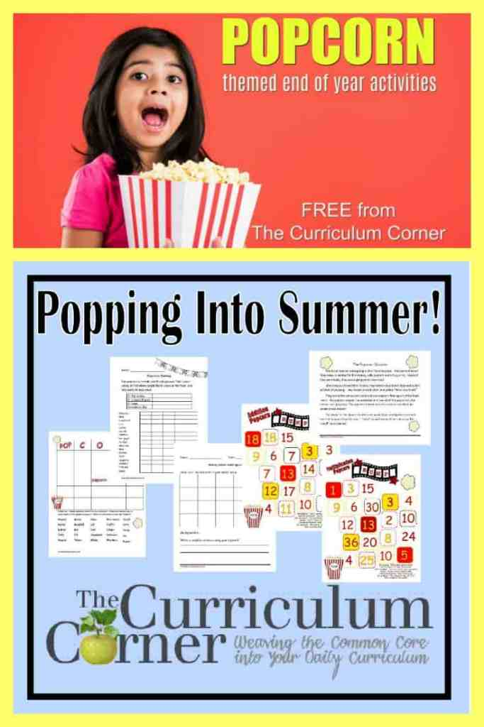 This free popcorn end of year collection is packed with math Take a look at our popcorn themed end of the year activities! Includes math, word work & more!