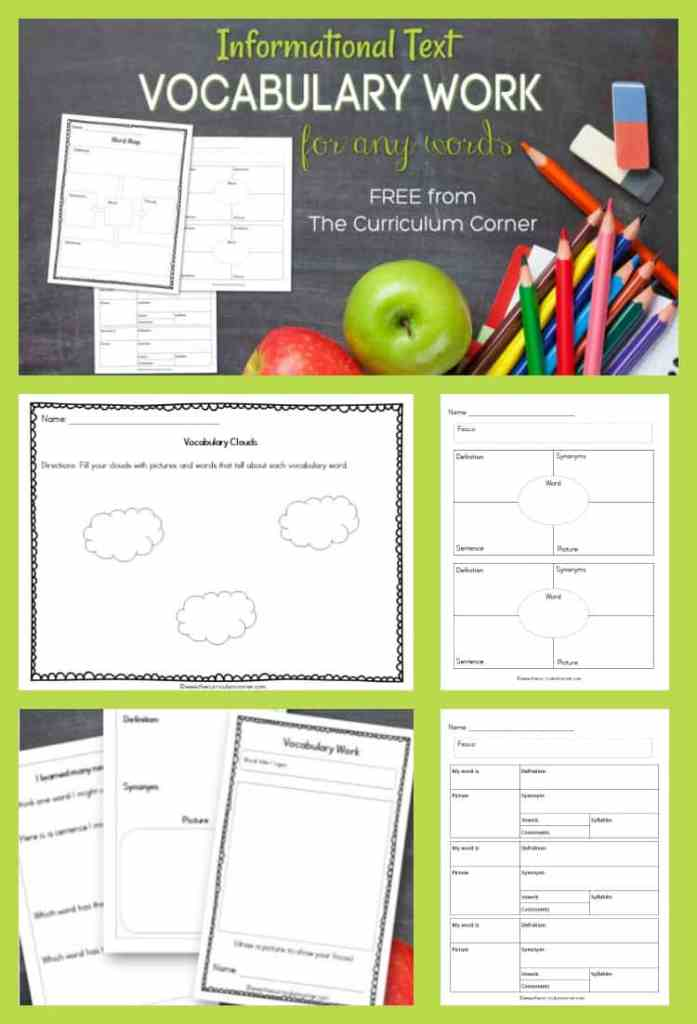 Free informational text vocabulary work from The Curriculum Corner