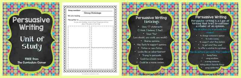 FREE Persuasive Writing Unit of Study from The Curriculum Corner | The Curriculum Corner