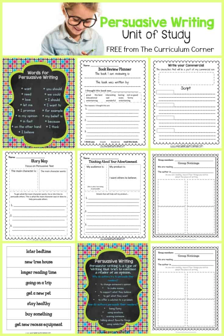 FREE Persuasive Writing Unit of Study for your Writing Workshop | Designed by The Curriculum Corner