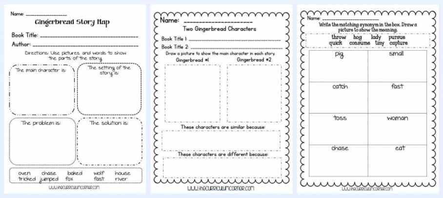 FREEBIE Gingerbread Stories Activities for math and literacy | unit of study from The Curriculum Corner | gingerbread man | fairtytales