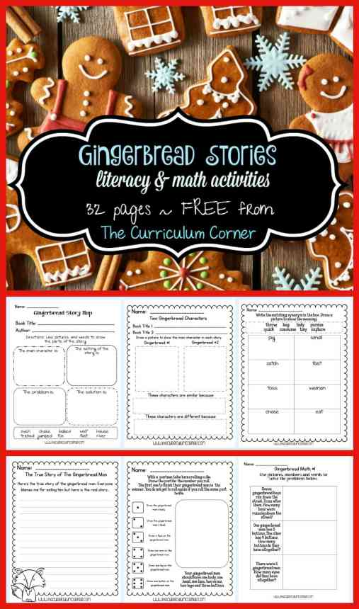 FREE Gingerbread Stories Literacy Activities for the Gingerbread Man | December | Christmas | reading workshop | math activities | The Curriculum Corner