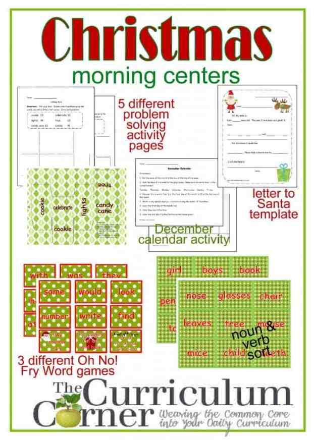 Christmas Themed Morning Centers from The Curriculum Corner | FREE  | Fry Word Oh No! | Noun & Verb Sort | Problem Solving | Calendar | Letter to Santa Template