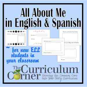 All About Me for ELL from The Curriculum Corner