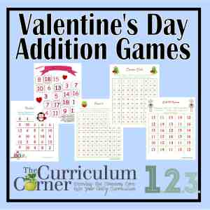 Free Valentine's Day Addition Games from The Curriculum Corner