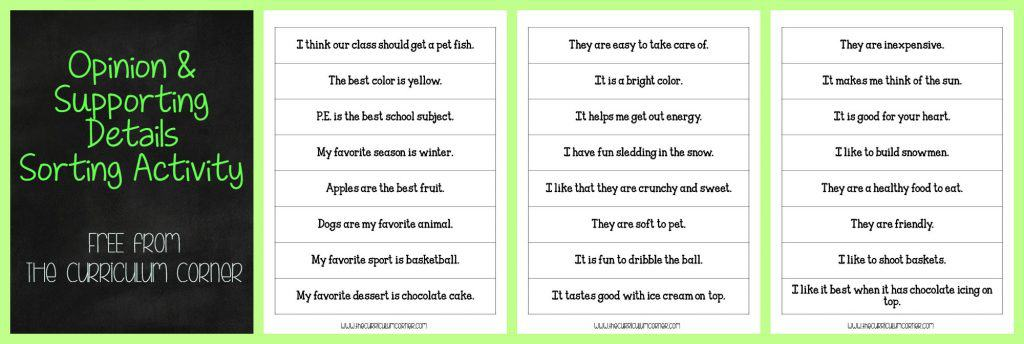 FREE Opinion Writing Unit of Study from The Curriculum Corner FREEBIE