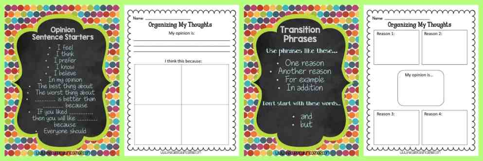 FREE Opinion Writing Unit of Study from The Curriculum Corner FREEBIE   blank books, mini-lesson & more   Writing Workshop