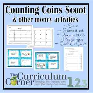 Money Scoot and other FREE counting money activities from The Curriculum Corner
