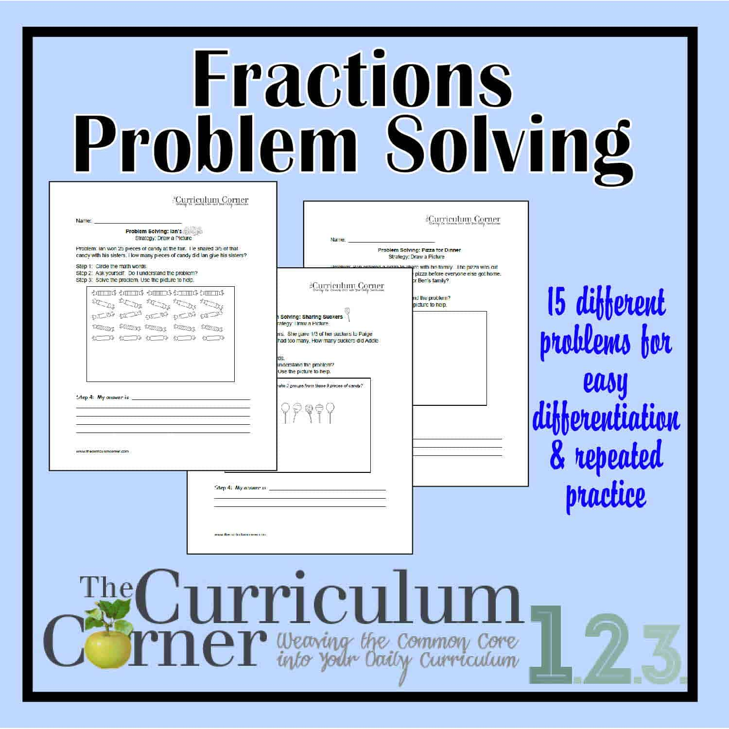 Problem Solving Involving Fractions Worksheets