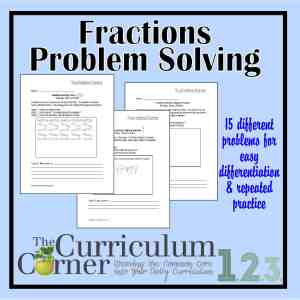 Fractions Problem Solving by The Curriculum Corner