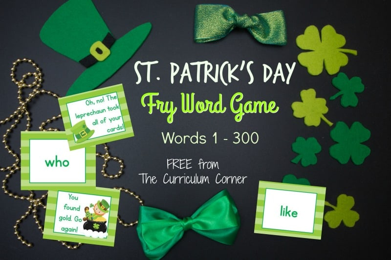 This St. Patrick's Day Fry Word game is designed to give your students practice with the first 100 Fry words.