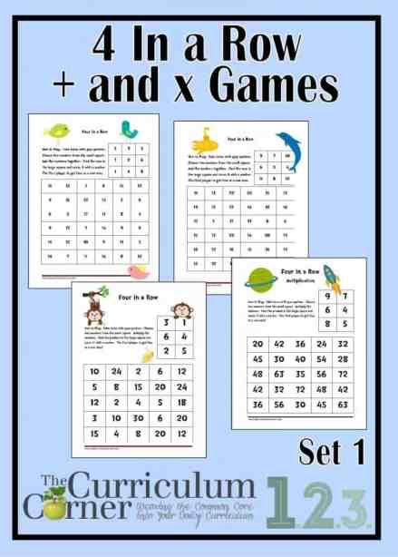 4 in a row addition and multiplication games by The Curriculum Corner