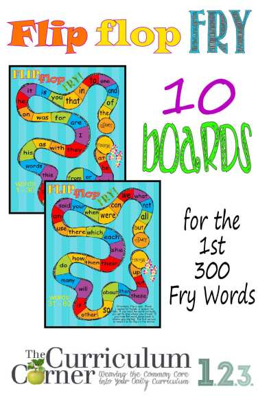 Flip Flop Fry Word Games for the first 300 words by The Curriculum Corner FREE
