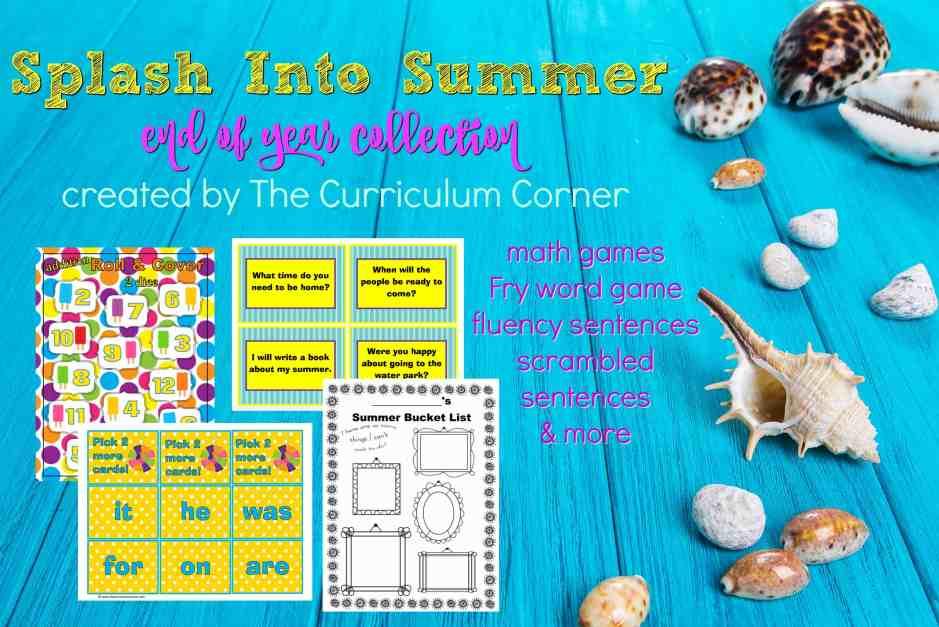 FREE Splash Into Summer end of school year activities | The Curriculum Corner