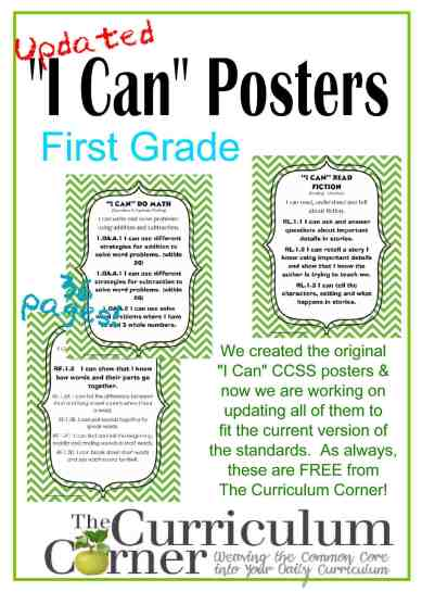 Updated I Can CCSS Posters in Green Chevron FREE from The Curriculum Corner for 1st Grade (others to follow soon!)