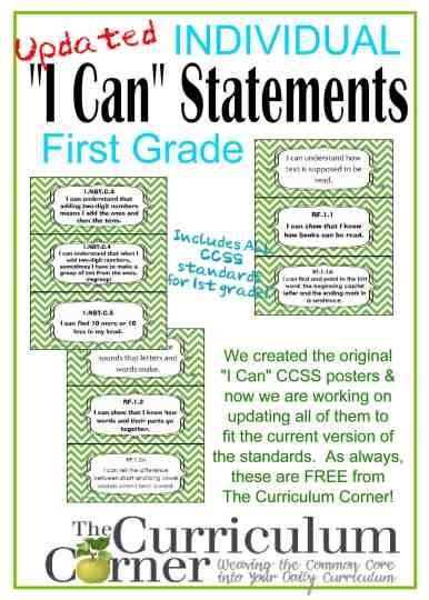 Individual I Can Statements by The Curriculum Corner CCSS free