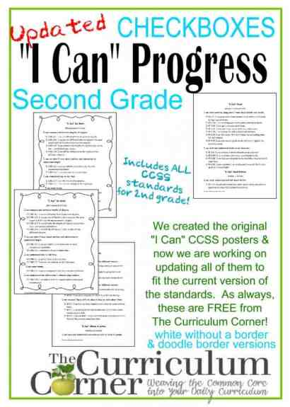 I Can Statements Checkbox Progress Monitoring for Students and Parents FREE from The Curriculum Corner