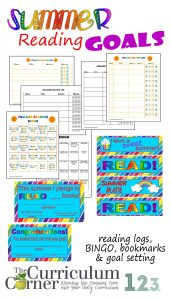 Summer reading logs, bingo board, bookmarks, certificates & more free from The Curriculum Corner