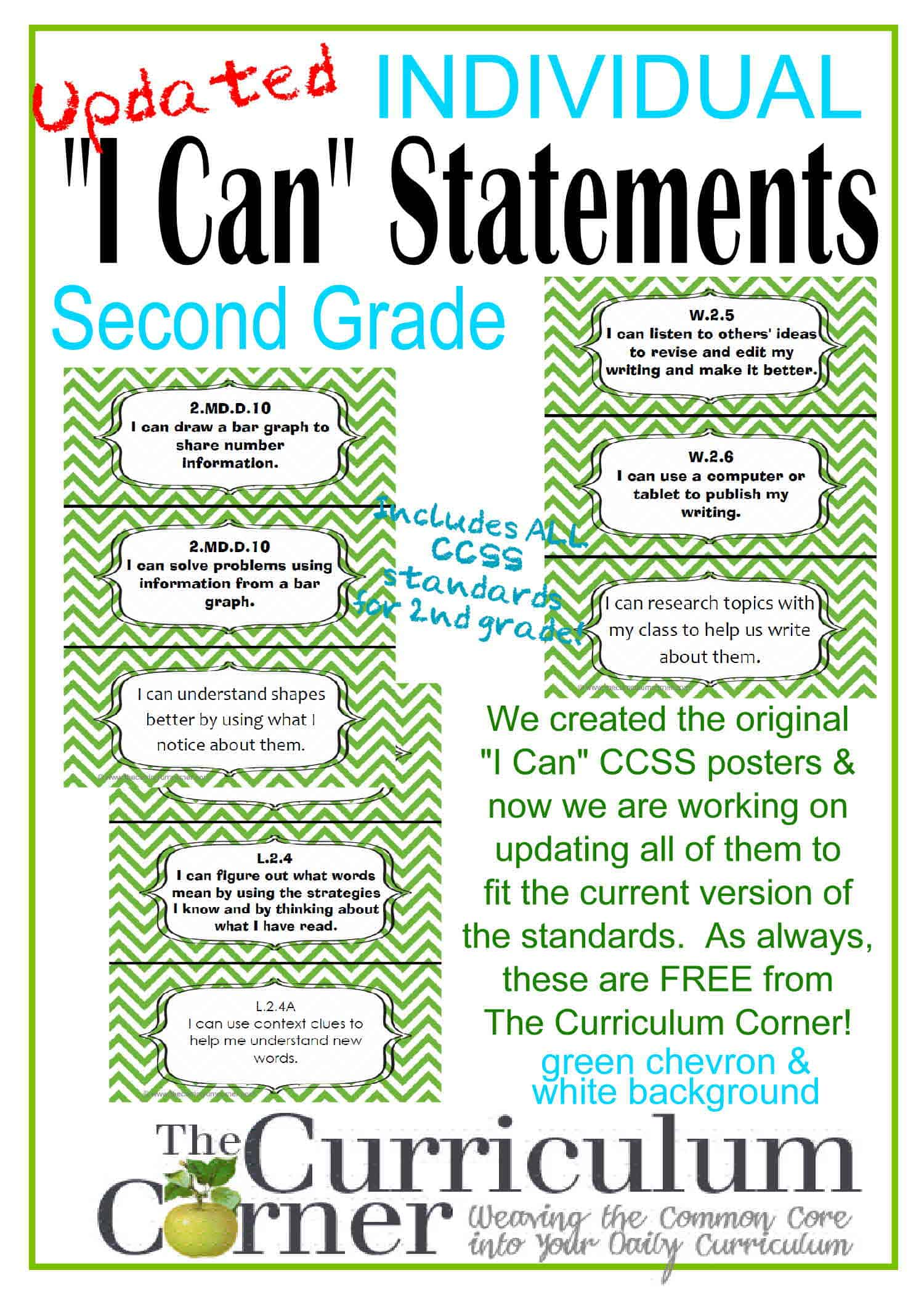 Updated I Can Statements For Ccss 2nd Grade 3 Per Page