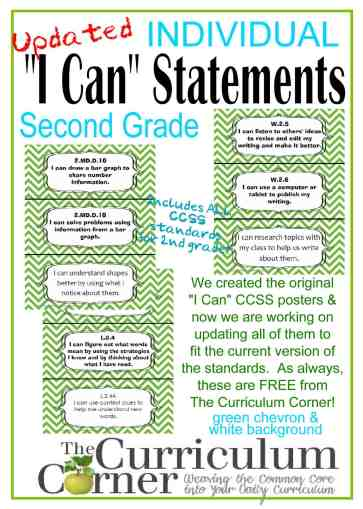 "Individual I Can Statements CCSS Common Core FREE from The Curriculum Corner | Green Chevron & White Backgrounds | ""I Can"" 