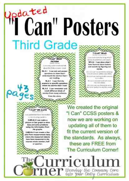 "Updated 3rd Grade ""I Can"" CCSS Posters in Green Chevron Common Core I Can Statements FREE"