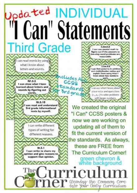 """Individual I Can Statements by The Curriculum Corner 