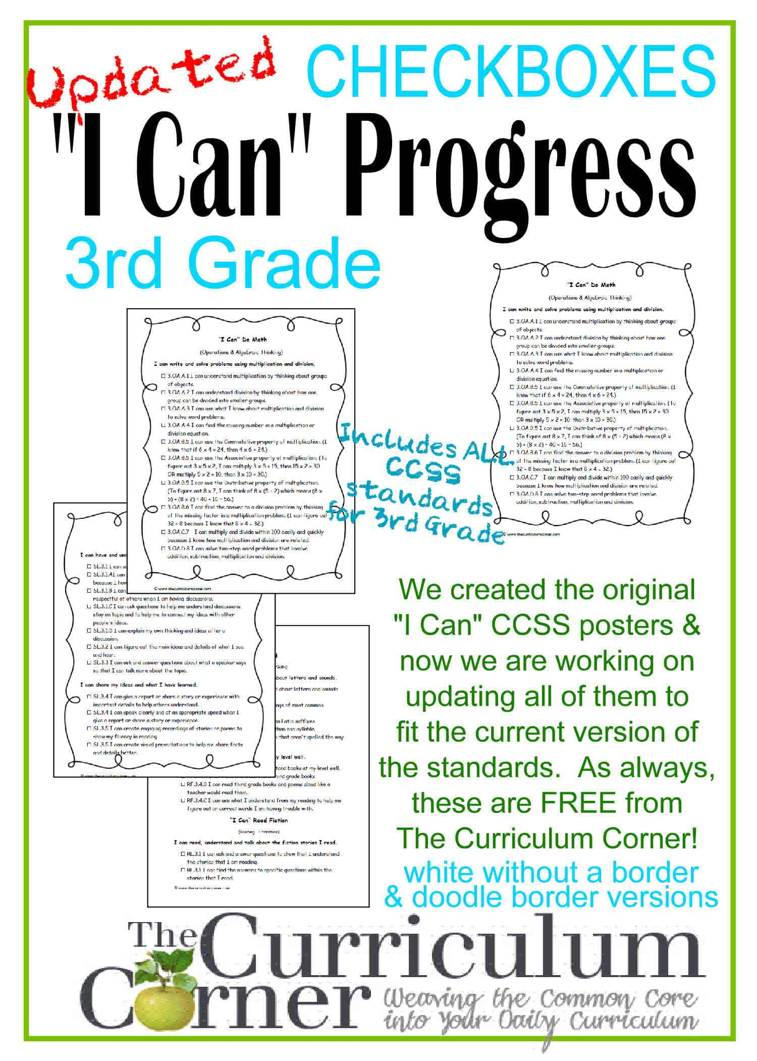 Updated 3rd Grade I Can Ccss Statements Progress Checkboxes