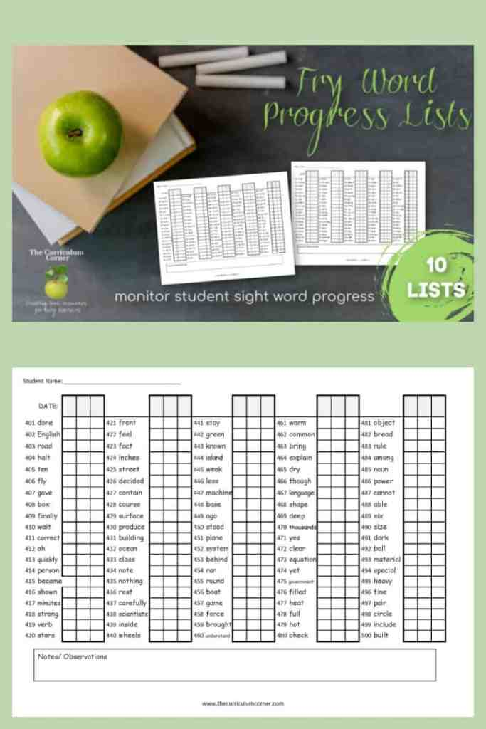 Fry Word Checklists - The Curriculum Corner 123