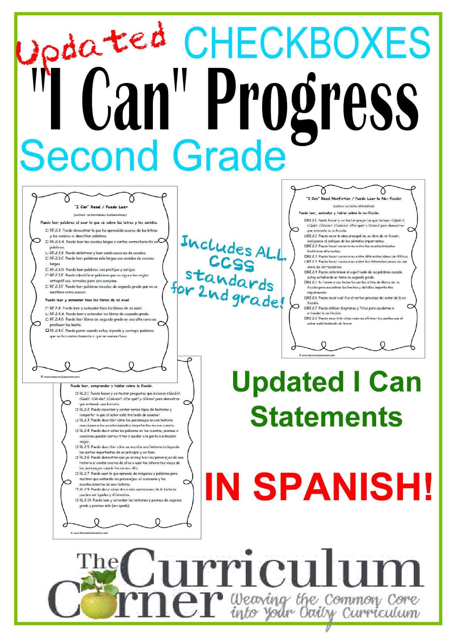 2nd Grade Spanish I Can Ccss Statement Progress