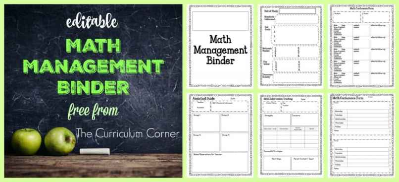 FREE Editable Math Management Binder from The Curriculum Corner