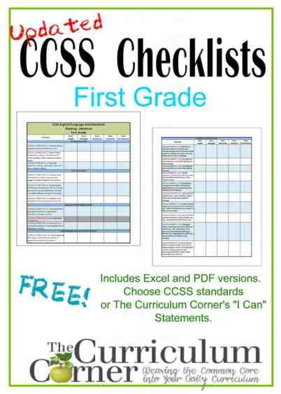 1st Grade I Can Checklists Updated Common Core Checklists | I Can Checklists | CCSS | Free | www.thecurriculumcorner.com