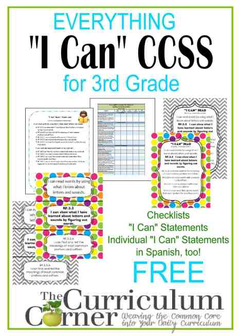 I Can Common Core Kid Friendly Standards by www.thecurriculumcorner | 3rd grade checklists, individual standards, posters, Spanish I Cans | FREE