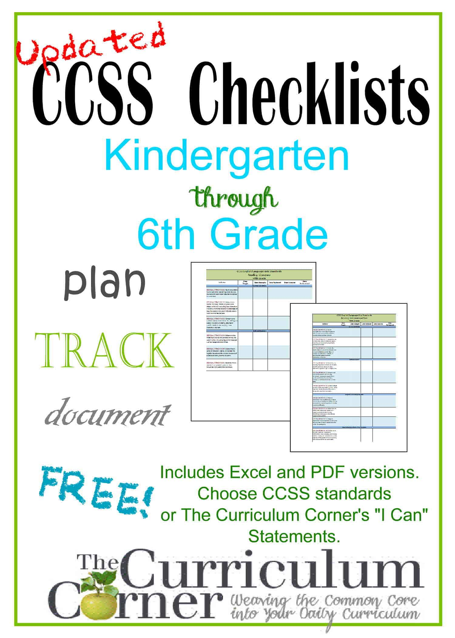 Updated Common Core State Standards Checklists on Arizona Common Core First Grade Math Worksheets