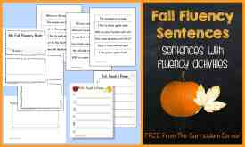 FREEBIE! Fall fluency sentences with activities from The Curriculum Corner | literacy centers | fluency practice